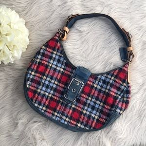 Coach Wool and Leather Plaid Hand Bag